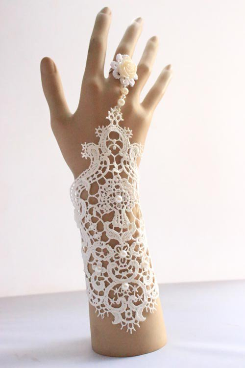 Sexy bead bridal tattoo Lolita White Belly dance Bracelet glove BR378