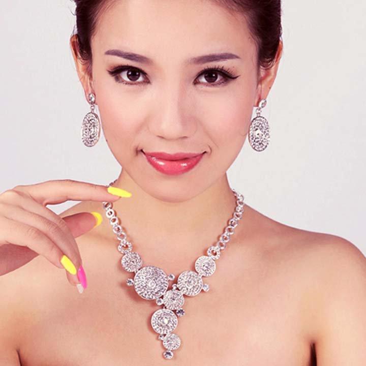 Circle Bridal Rhinestone crystal round prom earring necklace set NR443