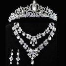 2 row Bridal Rhinestone crystal dangle Topknot earring necklace set tiara NR386A