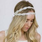 2 row Bridal Rhinestone trim sash applique accessory headband Prom Tiara HR314