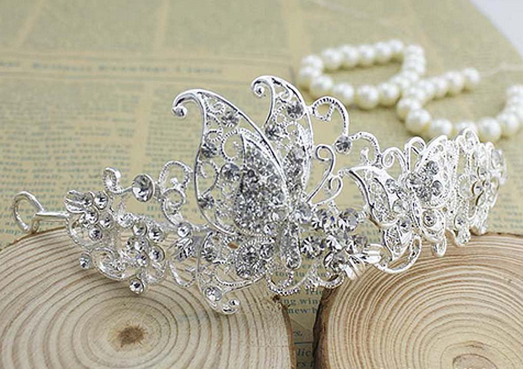 Bridal Crystal Rhinestone butterfly Prom Headpiece Hair tiara Comb RB643