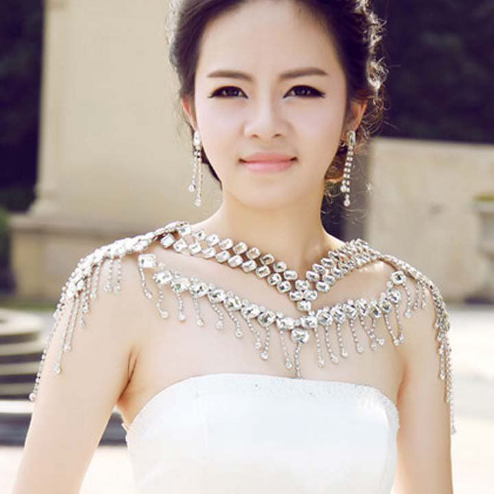 Bridal crystal Rhinestone huge shoulder deco Bra Strap Halter necklace NR464