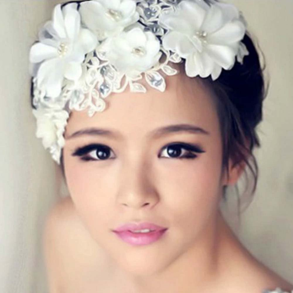 Bridal rhinestone bead Fascinator white silk flower forehead band Tiara BA195