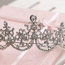 Bridal Clear Queen Silver tone Party Rhinestone headpiece Tiara Crown HR323