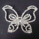 Bridal dress Clear crystal silver tone butterfly Rhinestone Brooch pin PI409