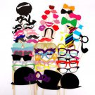 58 Pcs. Birthday Bridal Photo Booth Props mustache lip Glasses On a stick PP03