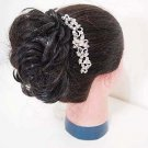 Bridal Clear Crystal Rhinestone Silver tone flower Hair tiara Comb RB656