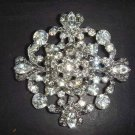 Bridal Vintage style crystal cake dress topper Czech Rhinestone Brooch pin Pi168