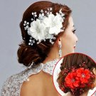 Bridal adjustable white rhinestone flower sequin hair Fascinator BA196