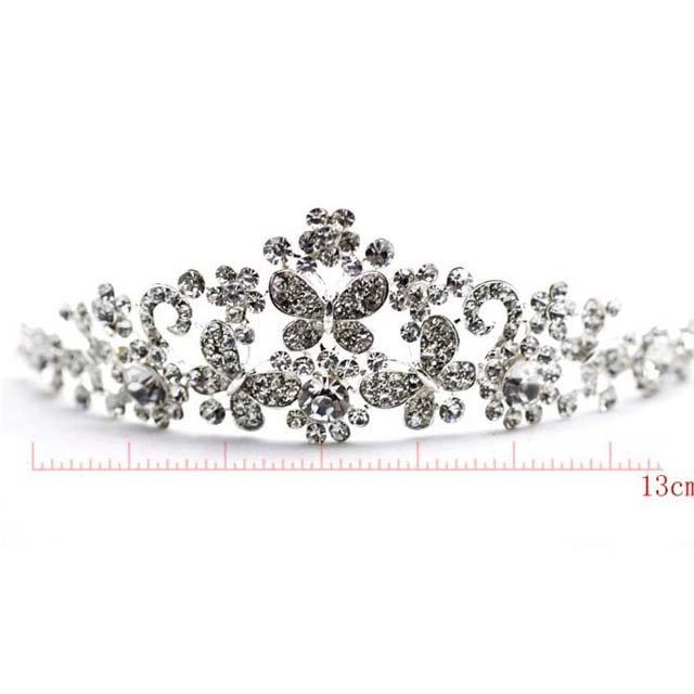 Bridal Butterfly Rhinestone Crystal necklace earring set Hair tiara crown NR347A