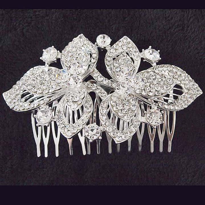 Bridal dance Rhinestone Flower headpiece Princess Prom Tiara comb RB659