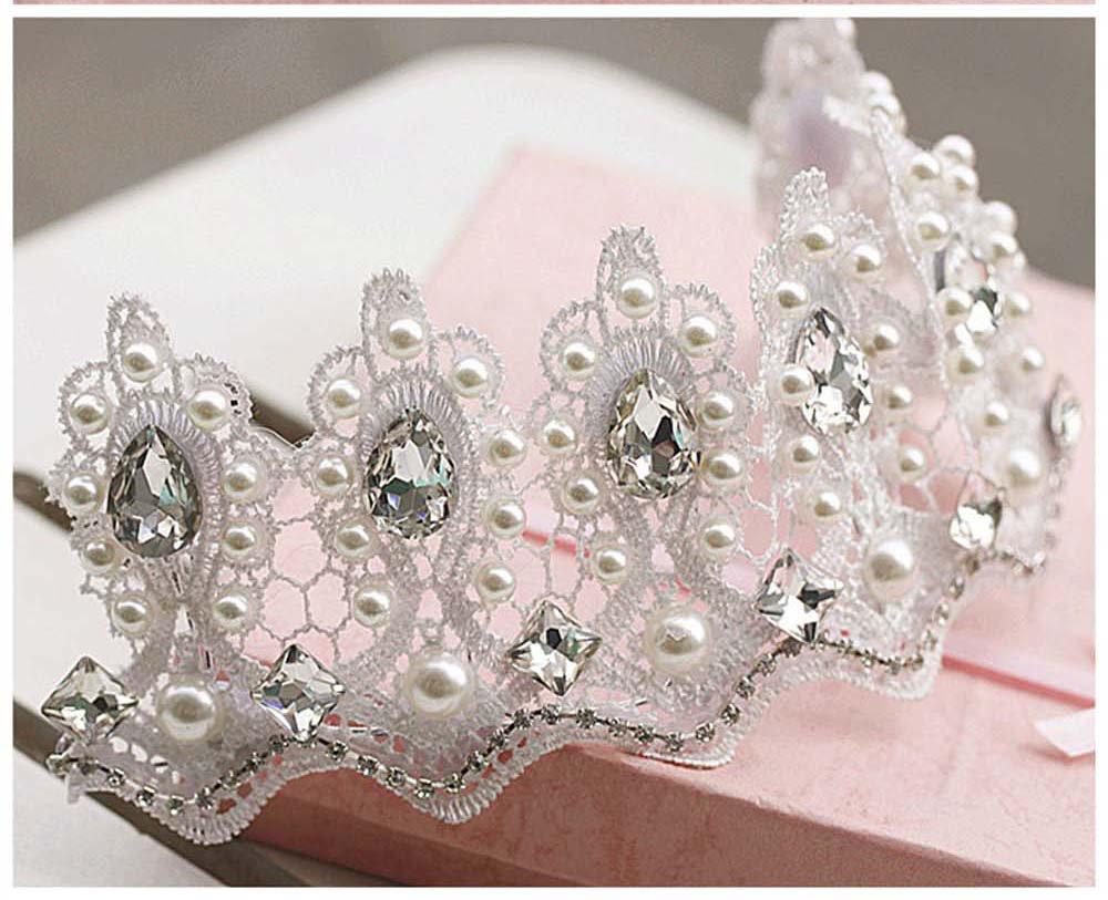 Bridal Rhinestone Crystal adjustable lace Prom Princess crown tiara HR306