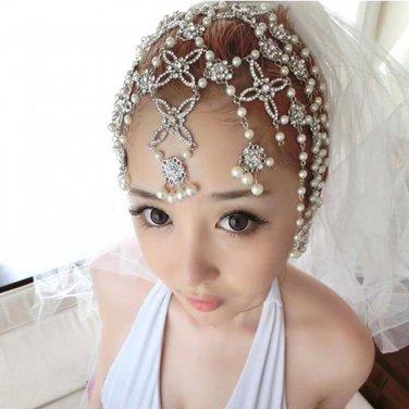 Bridal Rhinestone Butterfly Faux pearl Maang tikka dangle Hair tiara HR215