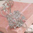 Bridal Rhinestone crystal flower headpiece Adjustable forehead band Tiara HR250