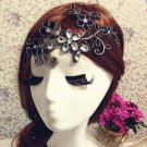 Bridal Rhinestone Black forehead band flower lace Hair tiara topknot BA178