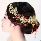Bridal traditional Chinese Red bead gold butterfly Hair Vines Halos Tiara HR256