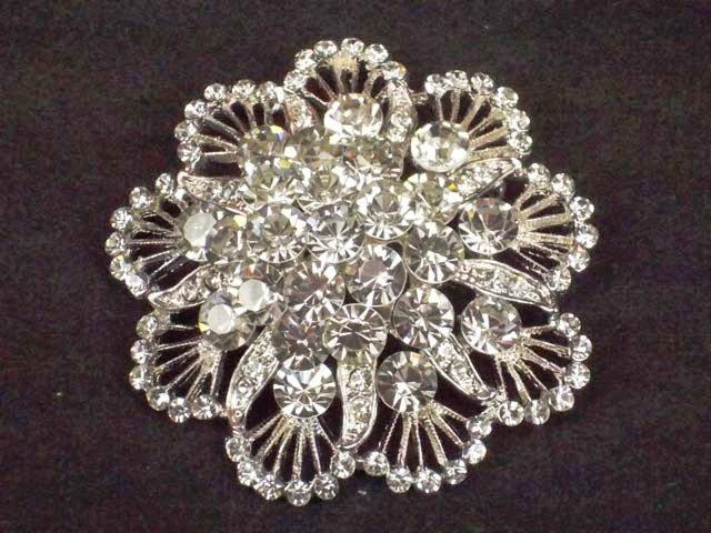 Bridal Cake topper dress Czech decoration crystal Rhinestone Brooch pin Pi577