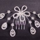 2 pcs Bridal Silver tone Rhinestone Clear Crystal Flower Hair Comb RB566