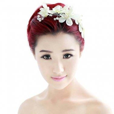 Bridal adjustable cream flower Faux pearl prom hair Fascinator BA192
