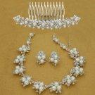 3 items Bridal Rhinestone crystal Faux comb Topknot earring necklace set NR444