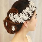 Bridal adjustable semi transparent flower Faux pearl prom hair Fascinator BA197
