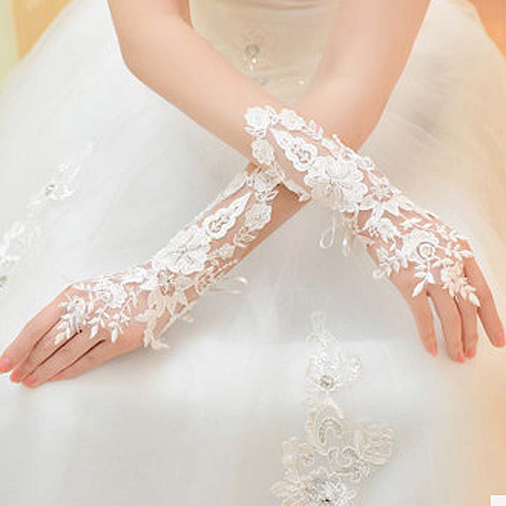 Bridal prom sexy Lace white flower Fingerless Gloves S41