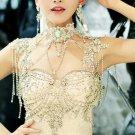 Bridal dangle crystal lace Rhinestone shoulder deco bib necklace NR451