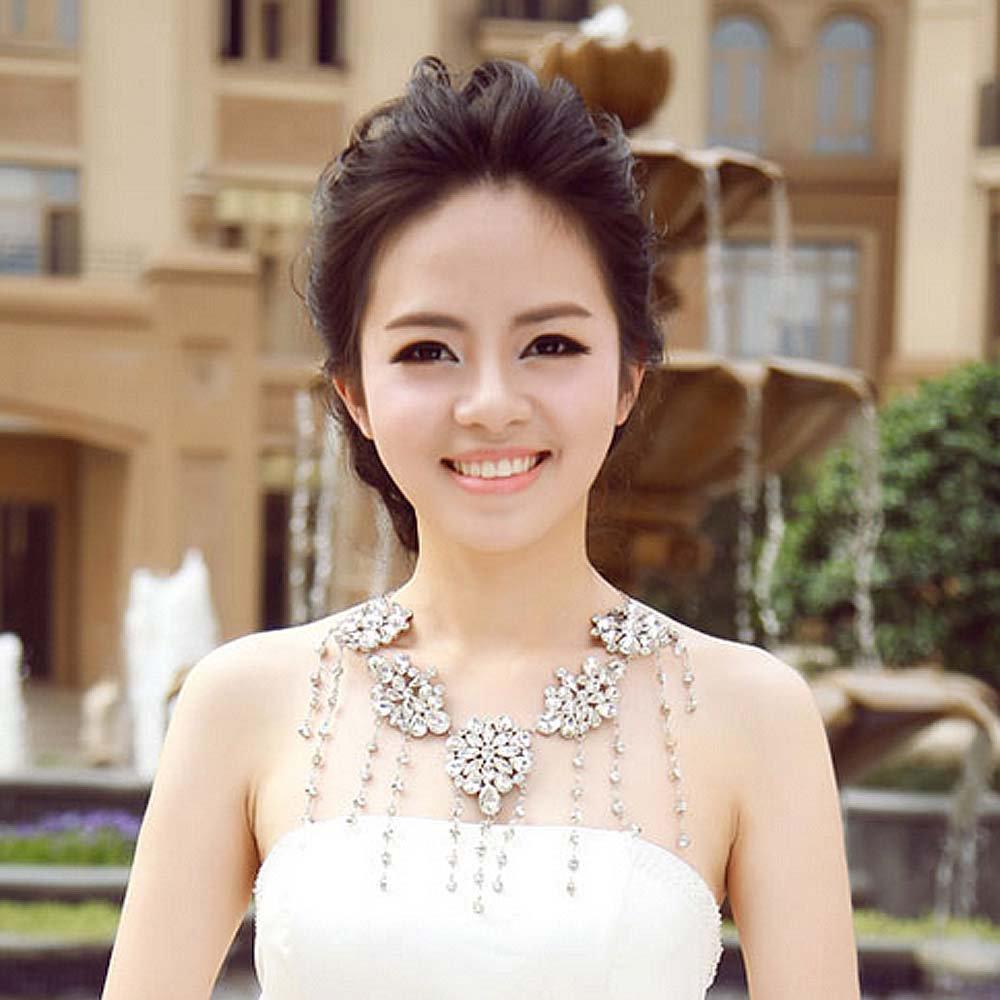 Bridal crystal Rhinestone shoulder deco Bra bib necklace NR473