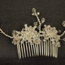 Bridal Crystal Adjustable Rhinestone Prom flower Hair tiara Comb RB470