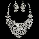 Bridal Clear crystal Rhinestone Bib elegant earring necklace set NR478
