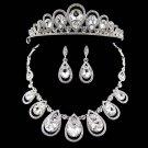 3 item Bridal Rhinestone Crystal Hair tiara tiara necklace earring set NR467A