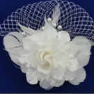 Bridal white dance flower veil feather Birdcage Fascinator net Hair clip HR319