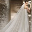 2 layer T2  Bridal Cathedral Wedding White Ivory Veil 2.8M with comb V15