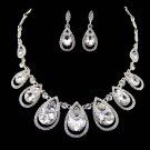 Bridal dangle flower Rhinestone Crystal Hair tiara necklace earring set NR467