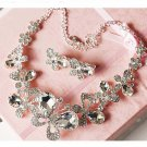 Bridal Rhinestone necklace earrring butterfly Hair tiara topknot HR216