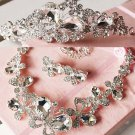 Bridal Rhinestone crystal butterfly Topknot tiara earring necklace set HR216R