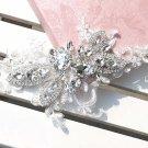 Bridal Rhinestone lace headpiece sew on appliques forehead band Tiara HR231