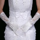 "14"" Bridal prom Lace Satin Voile Sequin Evening Gloves S50"