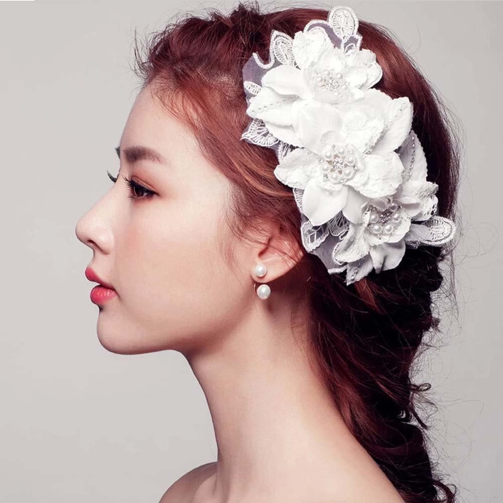 Bridal lace white rhinestone flower Faux pearl prom hair Fascinator comb BA198
