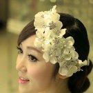 Bridal Rhinestone light yellow silk flower Adjustable forehead band Tiara BA189