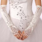 "13"" Bridal prom sexy satin white flower plastic rhinestone Fingerless Gloves S43"