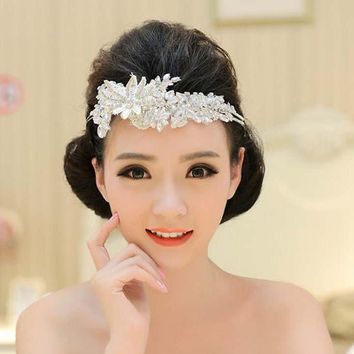 Bridal White lace  Hair Fascinator Plastic rhinestone topknot headband HR258