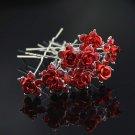10 pcs Bridal silver rhinestone red rose flower Hair pin hairpin RP180