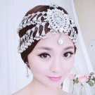 Bridal Rhinestone forehead band dangle headdress topknot Hair tiara HR300
