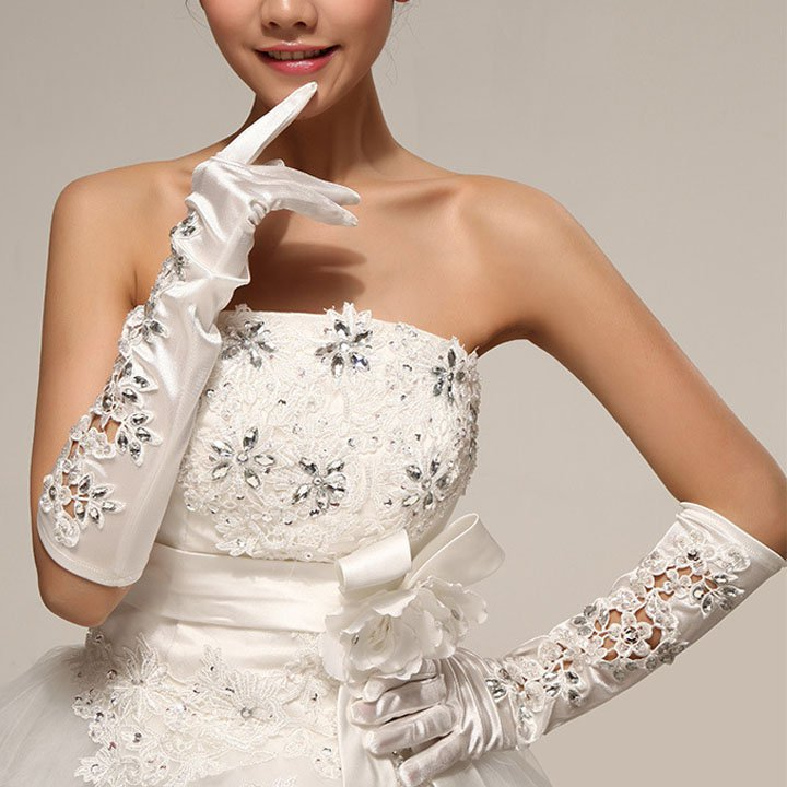 "16"" Bridal prom sexy  ivories Lace Satin Evening Gloves S40"