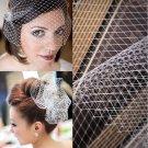 1yd bridal french bead rhinestone birdcage veil white bridal net V17