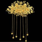 Bridal Chinese traditional gold tone dangle Flower Headpiece Hair tiara RB650