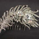 Bridal Clear Rhinestone Silver tone Headpiece crystal Hair Tiara Comb RB572
