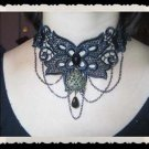 Gothic Lolita Black Flower dangle lace Belly dance necklace NR437