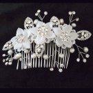 Bridal dance Rhinestone Flower Faux pearl Princess Prom Tiara comb RB655